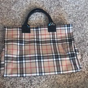 Nordstrom plaid wool tote made in Italy
